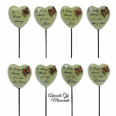 Butterfly Heart Memorial On Stick, Grave Side Stone Effect Ornament. Mum Nan etc
