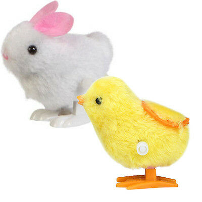 New Infant Child toys Hopping Wind Up Easter Chick and Bunny Neu