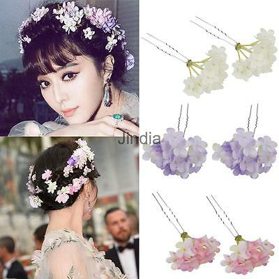 2PCS Wedding Flower Hair Pins Clip Bridesmaid HeadpieceFancy Party Prom Accs