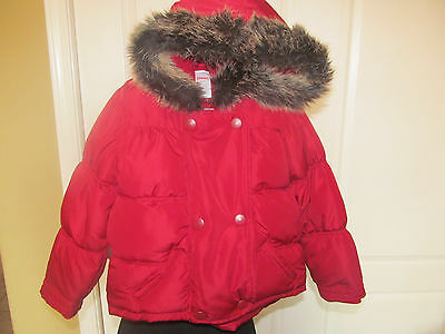 Gymboree Cranberry Red Fur Hooded Puffer Jacket Size 4T-5T