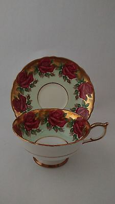 Rare Handpainted Paragon A1437 Heavy Gold & Red Cabbage Rose Cup & Saucer Set