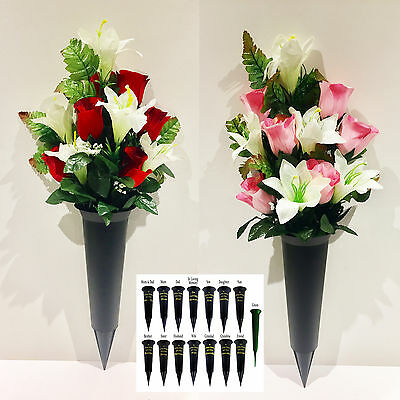 Black Memorial Spike Vase for Cemetery with Artificial Rose & Lily Flowers Red