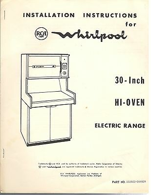 Vintage 60s 70s RCA Whirlpool 30-Inch Hi-Oven Electric Range Installation Manual