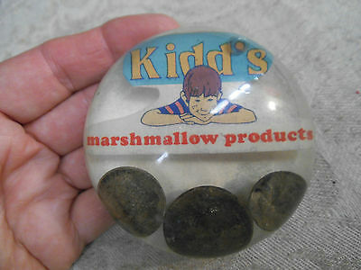 Vntg Advertising Paperweight KIDD'S MARSHMALLOW PRODUCTS-Lucite-US Coins-Dime