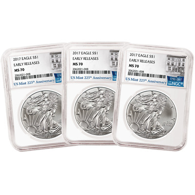 Lot of 3 - 2017 $1 American Silver Eagle NGC MS70 Early Releases 225th Ann. ER L