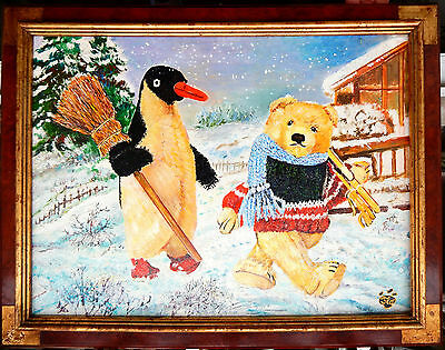 Ours/oursons avec pingouin/Noël/ Neige / Christmas Teddy Bears with penguin/snow