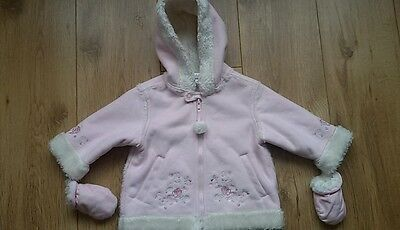Lovely Ladybird Baby Girls Hooded Coat Age 6-9 Months Pink Fur Lined Mittens