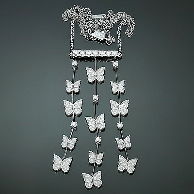 Exquisite! CARRERA Y CARRERA Butterflies Diamond White Gold Necklace