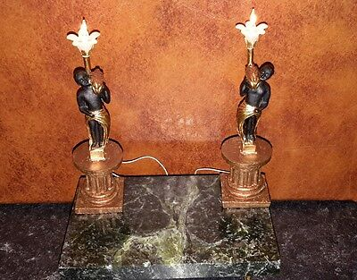 Dolls house pair of statue table lamps
