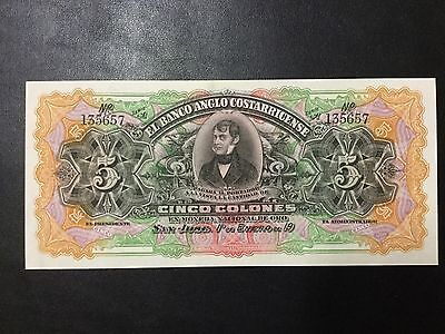 19Xx Costa Rica Paper Money - 5 Colones Banknote !