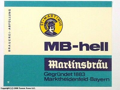 1960s Germany St Martinsbrau Hell Bier Beer Label Tavern Trove