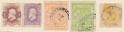 BRAZIL - 5 Stamps as shown - Hinged on paper