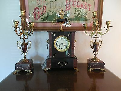 French Antique Mantle Clock with Candelabres