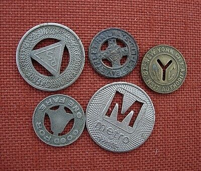 5 Misc TRANSIT TOKENS *NYC*WASH DC*NJ*EASTBAY RR
