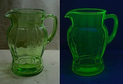 """Vintage Green Depression Glass Cameo Dancing Girl 8"""" Pitcher - Anchor Hocking"""