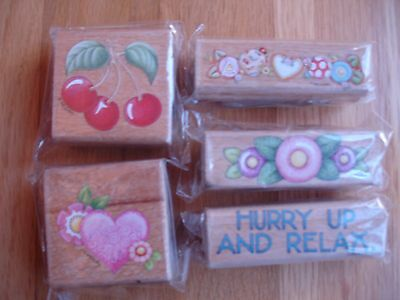 Mary Engelbreit Stamps Valentines Day Heart Cherries Cookies Flowers Lot Of 5