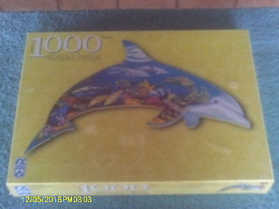 New Never Assembled Marine Dolphin Shaped 1000 Piece Puzzle