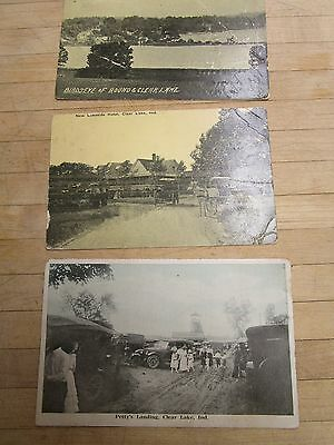 Vintage Postcard Angola Indiana Clear Lake Lot Of 3 Fremont IN 1916,1922