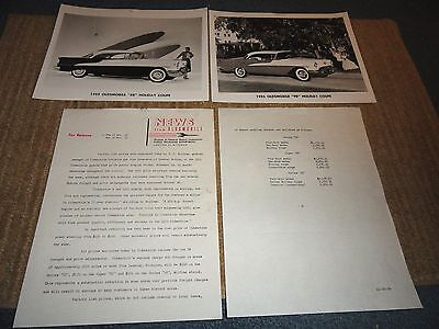 1955 Oldsmobile 88 & 98 Holiday Coupe Press Photos W/press Sheets Prices