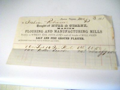 "Collectible 1881 Bill Head HULL & STALEY"" Flouring & Mfg. Mills-Marion,Virginia"