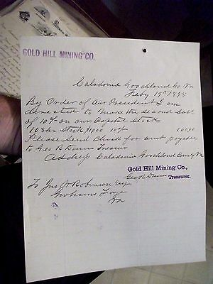 "Collectible 1895 Letter Head ""GOLD HILL MINING CO."" Caladonia,Virginia"