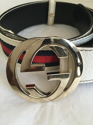 Gucci Gold GG Buckle Cream Blue Red Stripes Belt Sz 36