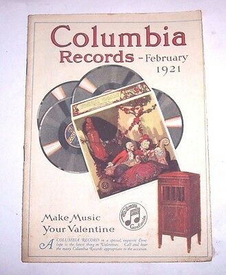 Nice Original Columbia Disc Phonograph Record Catalog - February , 1921