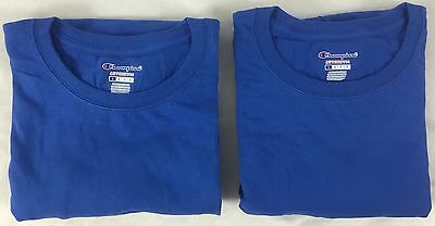 Champion Men TWO Long Sleeve Workout T-Shirt CC8C Ribbed Cuff BLUE Size XL