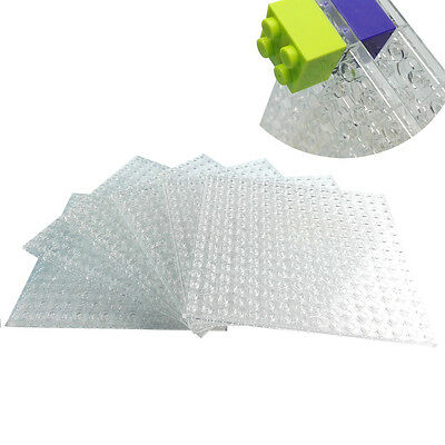 """Brick Building Base Plates 5""""x5"""" Compatible For Lego Transparent Double-sided"""