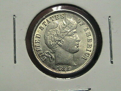 1899 10C Silver Barber Dime Well Struck and comes with free Lustre