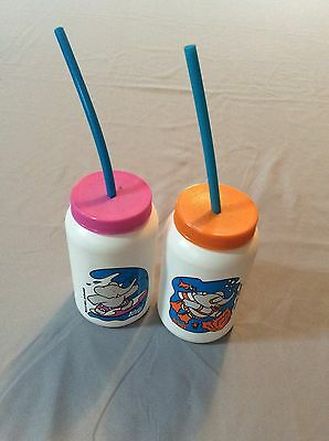 VINTAGE ARBY'S CHILDREN CAPPED CUPS WITH STRAW ELEPHANT THEME pr