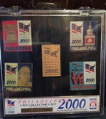 2000 Philadelphia Republican National Convention Set of 5 Collector Pins SEALED