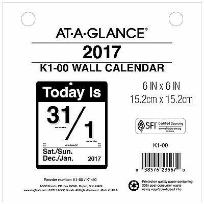 AT-A-GLANCE Wall Calendar 2017, Today Is, Daily, 6 x 6 K100