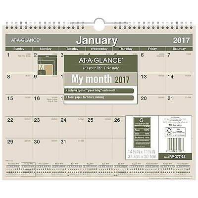AT-A-GLANCE Wall Calendar 2017, Monthly, Recycled, 14-7/8 x 11 7/8, Wirebound