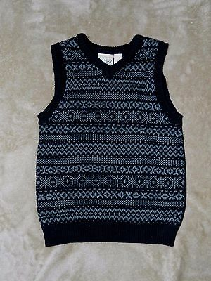 EUC Children's Place Toddler Boy Sweater Vest size 3T Black with gray pattern