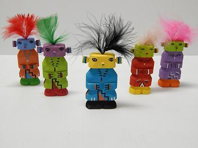 Lot Of 5 Vintage Hopi Indian Highway Route 66 Kachina Fred Harvey Style - Nr -