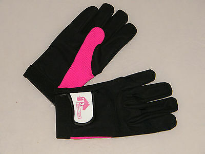ladies riding gloves - Small - Black and Pink