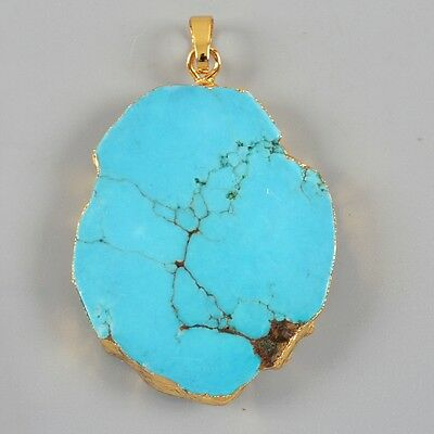 Blue Howlite Turquoise Pendant Bead Gold Plated H79186