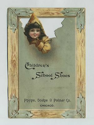 1800's Die Cut Advertising Trade Card Shoes Chicago & Watseka IL Illinois cv6652