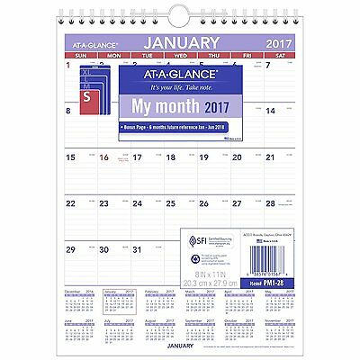 AT-A-GLANCE Wall Calendar 2017, Monthly, 8 x 11, Mini-Size, Ruled, Wirebound