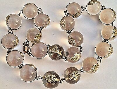 "Old 17"" Nouveau 20 Pools Of Light Rock Crystal Sterling Floral Bands Necklace"