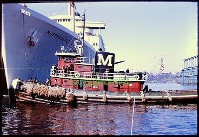 Original Slide CYNTHIA MORAN Tugboat SS INDEPENDENCE 1963 New York Harbor