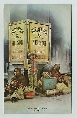 Indian Basket Sellers At Frederick & Nelson Store Seattle WA Postcard bz478