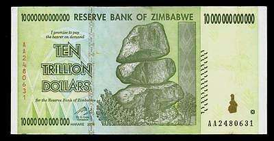 Zimbabwe Ten Trillion Dollars Inflation Note Currency
