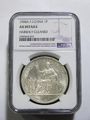 French Indo Chine China 1908 1 Piastre Vietnam Ngc Silver Coin Collection Lot