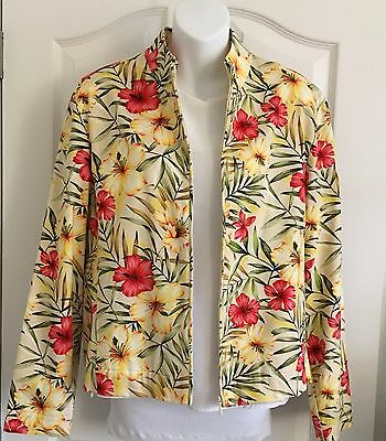 EP Pro Golf Women's Size Large Stretch Jacket ~ Island Girl Hibiscus & Frowns