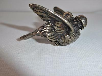 Sterling Silver Bird W Fine Detail Christmas Ornament Pendant