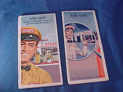 2-1940 + 1950s ATLANTIC GASOLINE Gas Station ROAD MAPS for NY