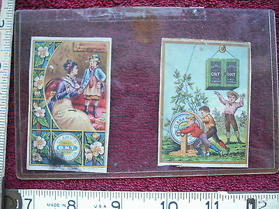 Pair of Small Vintage Lithographs of Clarks Spool Cotton Thread - Circa 1910