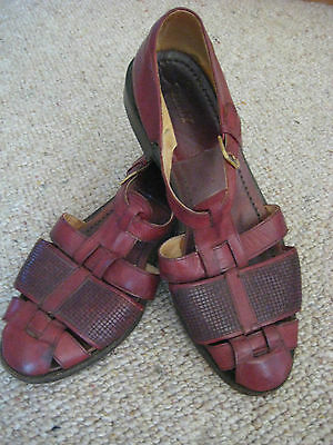 Bally Mens Leather Sandals, Reddish Brown, Size 10 (Vgc)